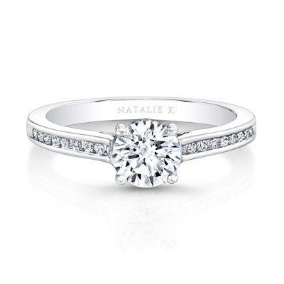 18K WHITE GOLD CHANNEL SET DIAMOND BAND ENGAGEMENT RING FM26928 18W - 18K WHITE GOLD CHANNEL SET DIAMOND BAND ENGAGEMENT RING FM26928-18W