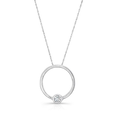 18K WHITE GOLD CIRCLE WHITE DIAMOND PENDANT FM29100 18W - 18K WHITE GOLD CIRCLE WHITE DIAMOND PENDANT FM29100-18W