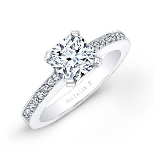 18K WHITE GOLD DIAMOND BAND ENGAGEMENT RING FM17236 18W - 18K WHITE GOLD DIAMOND BAND ENGAGEMENT RING FM17236-18W