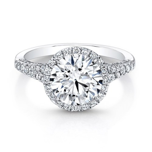 18K WHITE GOLD DIAMOND HALO AND GALLERY ENGAGEMENT RING FM26764 18W - 18K WHITE GOLD DIAMOND HALO AND GALLERY ENGAGEMENT RING FM26764-18W