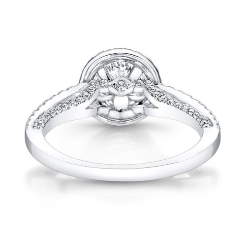 18K WHITE GOLD DIAMOND HALO ART DECO GALLERY ENGAGEMENT RING FM27190 18W 2 - 18K WHITE GOLD DIAMOND HALO ART DECO GALLERY ENGAGEMENT RING FM27190-18W