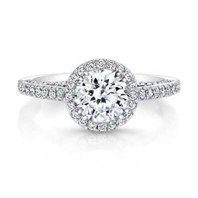 18K WHITE GOLD DIAMOND HALO ART DECO GALLERY ENGAGEMENT RING FM27190 18W - 18K WHITE GOLD DIAMOND HALO ART DECO GALLERY ENGAGEMENT RING FM27190-18W