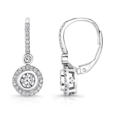 18K WHITE GOLD DIAMOND HALO BEZEL SET CENTER DROP EARRINGS FM28893 18W - 18K WHITE GOLD DIAMOND HALO BEZEL SET CENTER DROP EARRINGS FM28893-18W
