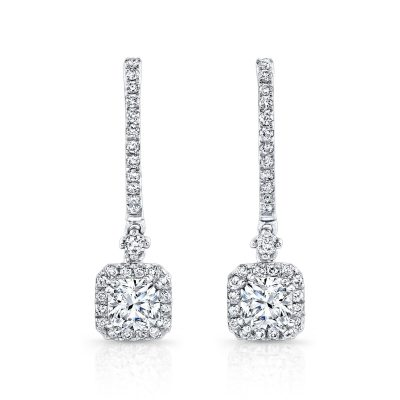 18K WHITE GOLD DIAMOND HALO DROP EARRINGS FM26956 18W - 18K WHITE GOLD DIAMOND HALO DROP EARRINGS FM26956-18W