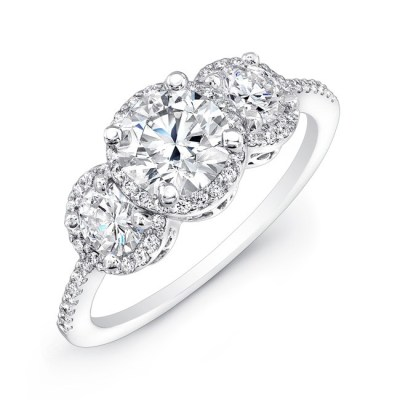 18K WHITE GOLD DIAMOND HALO ROUND DIAMOND SIDE STONE ENGAGEMENT RING FM17942 W - 18K WHITE GOLD DIAMOND HALO ROUND DIAMOND SIDE STONE ENGAGEMENT RING FM17942-W