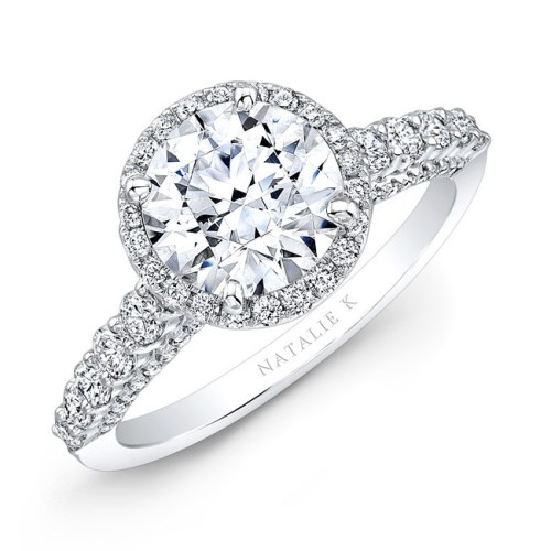 18K WHITE GOLD ELONGATED SHANK DIAMOND HALO ENGAGEMENT RING NK28659 18W - 18K WHITE GOLD ELONGATED SHANK DIAMOND HALO ENGAGEMENT RING NK28659-18W