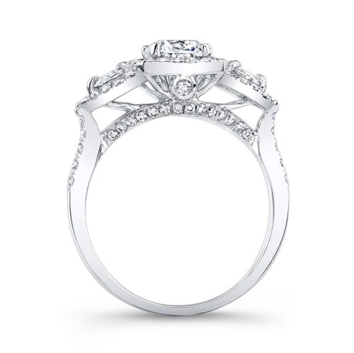 18K WHITE GOLD HALO DIAMOND ENGAGEMENT RING WITH PEAR SHAPED SIDE STONES NK25804 18W 1 - 18K WHITE GOLD HALO DIAMOND ENGAGEMENT RING WITH PEAR SHAPED SIDE STONES NK25804-18W