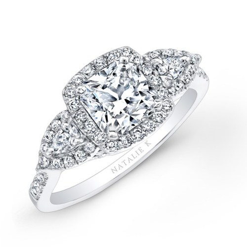 18K WHITE GOLD HALO DIAMOND ENGAGEMENT RING WITH PEAR SHAPED SIDE STONES NK25804 18W - 18K WHITE GOLD HALO DIAMOND ENGAGEMENT RING WITH PEAR SHAPED SIDE STONES NK25804-18W