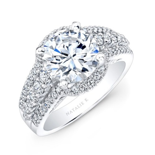 18K WHITE GOLD HALO INSPIRED PAVE AND PRONG DIAMOND ENGAGEMENT RING NK25875 18W - 18K WHITE GOLD HALO INSPIRED PAVE AND PRONG DIAMOND ENGAGEMENT RING NK25875-18W