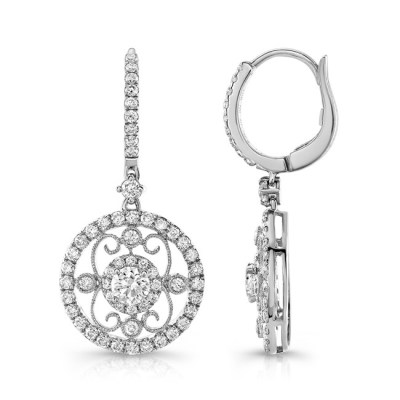 18K WHITE GOLD METAL SCROLL WORK DIAMOND HALO DROP EARRINGS FM28982 18W - 18K WHITE GOLD METAL SCROLL WORK DIAMOND HALO DROP EARRINGS FM28982-18W