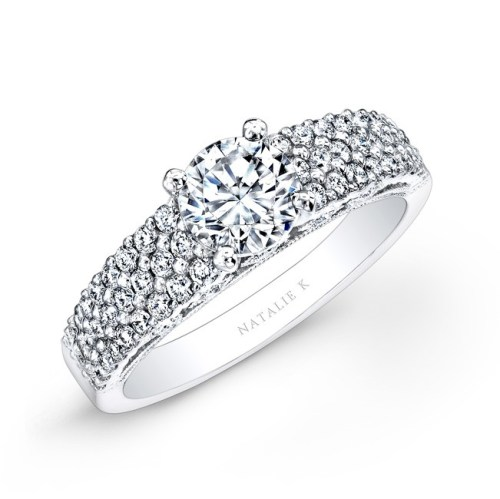 18K WHITE GOLD PAVE BEZEL SET WHITE DIAMOND ENGAGEMENT RING NK26124 W - 18K WHITE GOLD PAVE BEZEL SET WHITE DIAMOND ENGAGEMENT RING NK26124-W