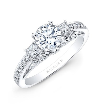 18K WHITE GOLD PAVE PRONG AND BEZEL ROUND DIAMOND ENGAGEMENT RING WITH SIDE STONES NK25815 18W - 18K WHITE GOLD PAVE PRONG AND BEZEL ROUND DIAMOND ENGAGEMENT RING WITH SIDE STONES NK25815-18W