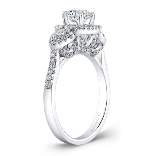18K WHITE GOLD PEARSHAPED SIDE STONE SQUARE HALO ENGAGEMENT RING NK28594 18W 2 - 18K WHITE GOLD PEARSHAPED SIDE STONE SQUARE HALO ENGAGEMENT RING NK28594-18W