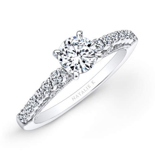 18K WHITE GOLD PRONG SET WHITE DIAMOND BRIDAL SET NK25849WE W 1 - 18K WHITE GOLD PRONG SET WHITE DIAMOND BRIDAL SET NK25849WE-W