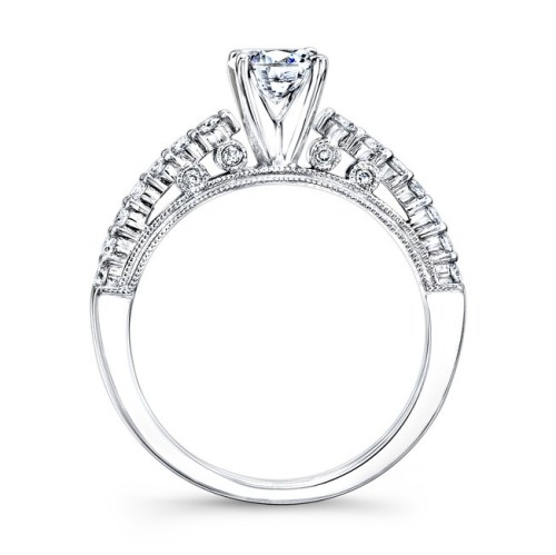 18K WHITE GOLD PRONG SET WHITE DIAMOND BRIDAL SET NK25849WE W 2 - 18K WHITE GOLD PRONG SET WHITE DIAMOND BRIDAL SET NK25849WE-W