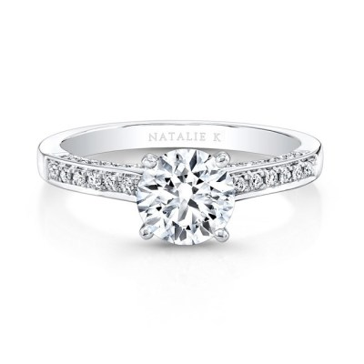 18K WHITE GOLD PRONGSET DIAMOND BAND ENGAGEMENT RING FM26926 18W - 18K WHITE GOLD PRONGSET DIAMOND BAND ENGAGEMENT RING FM26926-18W