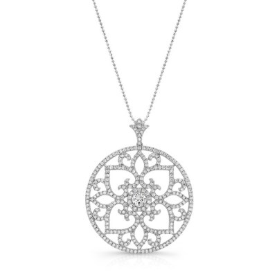 18K WHITE GOLD SCROLL WORK VINTAGE INSPIRED CIRCLE PENDANT FM29017 18W - 18K WHITE GOLD SCROLL WORK VINTAGE INSPIRED CIRCLE PENDANT FM29017-18W