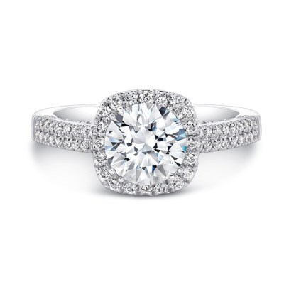 18K WHITE GOLD SQUARE HALO SCALLOPED GALLERY ENGAGEMENT RING FM29313 18W - 18K WHITE GOLD SQUARE HALO SCALLOPED GALLERY ENGAGEMENT RING FM29313-18W