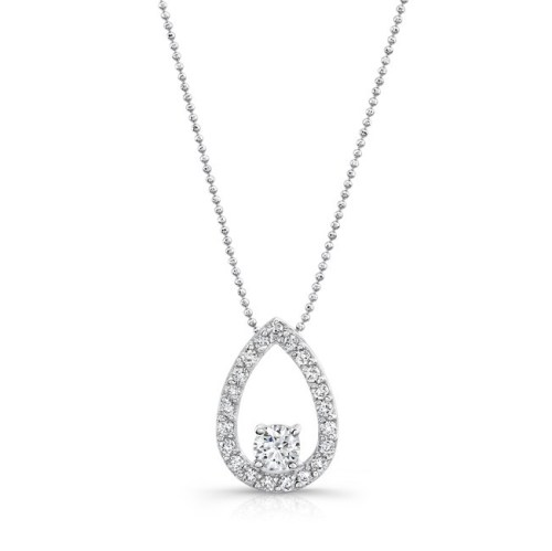 18K WHITE GOLD TEAR DROP DIAMOND PENDANT FM29099 18W - 18K WHITE GOLD TEAR DROP DIAMOND PENDANT FM29099-18W