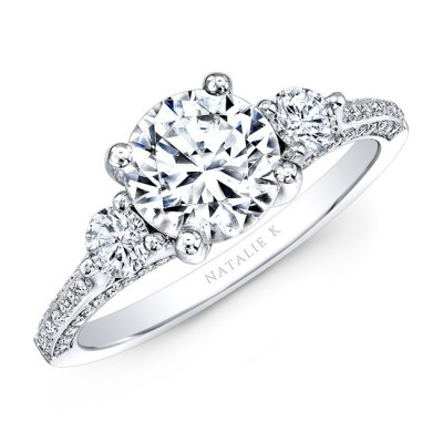 18K WHITE GOLD THREE STONE DIAMOND ENGAGEMENT RING NK29609ZTD W - 18K WHITE GOLD THREE STONE DIAMOND ENGAGEMENT RING NK29609ZTD-W