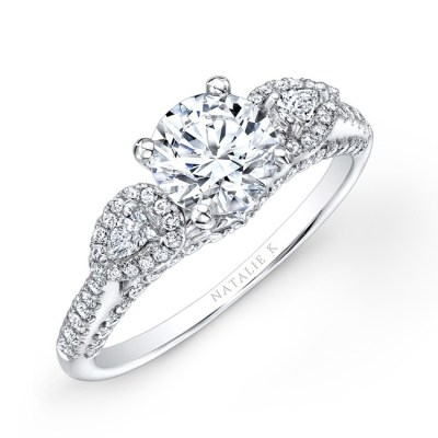 18K WHITE GOLD THREE STONE DIAMOND ENGAGEMENT RING WITH PEAR SHAPED SIDE STONES NK26293 W - 18K WHITE GOLD THREE STONE DIAMOND ENGAGEMENT RING WITH PEAR SHAPED SIDE STONES NK26293-W
