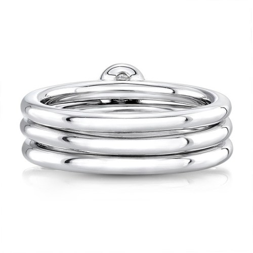 18K WHITE GOLD THREE STONE STACKABLE BANDS FM29106 18W 1 - 18K WHITE GOLD THREE STONE STACKABLE BANDS FM29106-18W