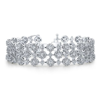 18K WHITE GOLD WHITE DIAMOND HALO AND PRINCESS CUT ACCENT BRACELET FM31761 18W - 18K WHITE GOLD WHITE DIAMOND HALO AND PRINCESS CUT ACCENT BRACELET FM31761-18W