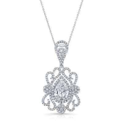 18K WHITE GOLD WHITE DIAMOND PEAR SHAPED CENTER FILIGREE PENDANT FM31097 18W - 18K WHITE GOLD WHITE DIAMOND PEAR SHAPED CENTER FILIGREE PENDANT FM31097-18W