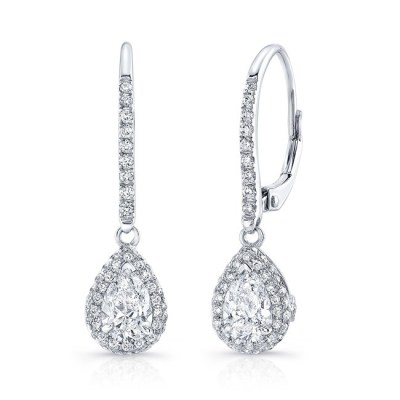 18K WHITE GOLD WHITE DIAMOND PEAR SHAPED DROP EARRINGS FM30908 18W - 18K WHITE GOLD WHITE DIAMOND PEAR SHAPED DROP EARRINGS FM30908-18W