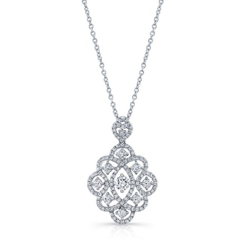 18K WHITE GOLD WHITE DIAMOND PENDANT FM31208 18W - 18K WHITE GOLD WHITE DIAMOND PENDANT FM31208-18W