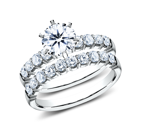 2.5MM WHITE GOLD CRESCENT SHARED PRONG ENGAGEMENT SET CSPA4 LH6PSET W - 2.5MM WHITE GOLD CRESCENT SHARED PRONG ENGAGEMENT SET CSPA4-LH6PSET-W