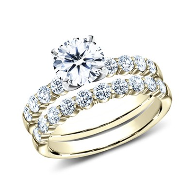 2.5MM YELLOW GOLD SHARED PRONG ENGAGEMENT SET SPA6 LHSET Y - 2.5MM YELLOW GOLD SHARED PRONG ENGAGEMENT SET SPA6-LHSET-Y