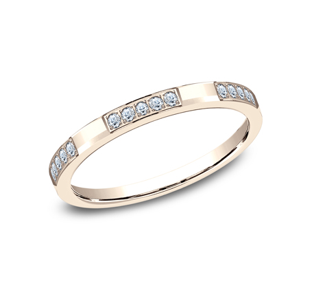 2MM ROSE GOLD DIAMOND BAND FEATURES 25 PAVE SET 522851R - 2MM ROSE GOLD DIAMOND BAND FEATURES 25 PAVE' SET 522851R