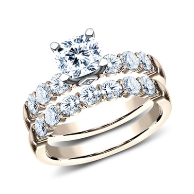 3MM ROSE GOLD SHARED PRONG ENGAGEMENT SET SPA11 ACSET R - 3MM ROSE GOLD SHARED PRONG ENGAGEMENT SET SPA11-ACSET-R