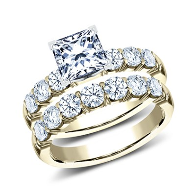 3MM YELLOW GOLD CRESCENT SHARED PRONG ENGAGEMENT SET CSPA16 LHPSET Y - 3MM YELLOW GOLD CRESCENT SHARED PRONG ENGAGEMENT SET CSPA16-LHPSET-Y