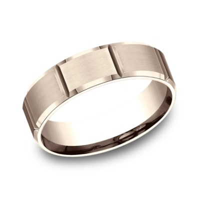 6MM COMFORT FIT SATIN FINISHED CARVED DESIGN BAND CF66449R - 6MM COMFORT-FIT SATIN-FINISHED CARVED DESIGN BAND CF66449R