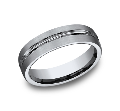 6MM TITANIUM COMFORT FIT SATIN FINISHED BAND 560T - 6MM TITANIUM COMFORT-FIT SATIN-FINISHED BAND 560T