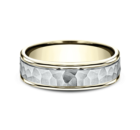 6MM TWO TONED CARVED DESIGN BAND CF156303 2 - 6MM TWO-TONED CARVED DESIGN BAND CF156303