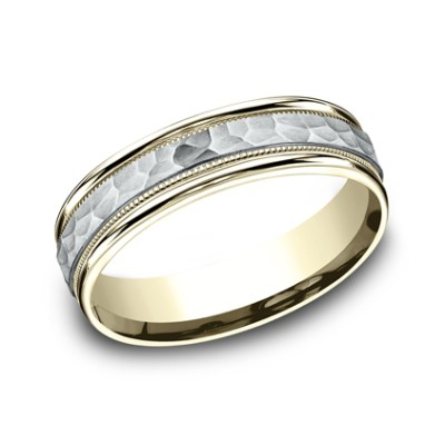 6MM TWO TONED CARVED DESIGN BAND CF156308 - 6MM TWO-TONED CARVED DESIGN BAND CF156308