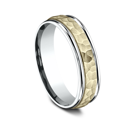 6MM TWO TONED CARVED DESIGN BAND CF176303 1 - 6MM TWO-TONED CARVED DESIGN BAND  CF176303