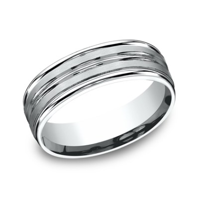 7MM ARGENTIUM SILVER COMFORT FIT BAND RECF57180SV - 7MM ARGENTIUM SILVER COMFORT-FIT BAND RECF57180SV