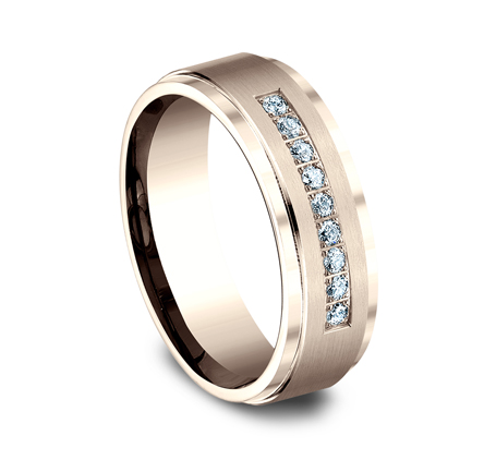 7MM ROSE GOLD COMFORT FIT PAVE SET BAND CF67380R 1 - 7MM ROSE GOLD COMFORT-FIT PAVE SET BAND CF67380R