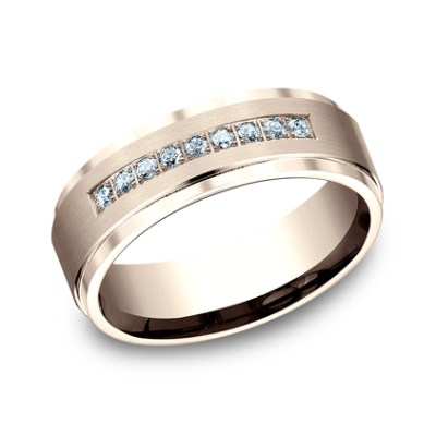 7MM ROSE GOLD COMFORT FIT PAVE SET BAND CF67380R - 7MM ROSE GOLD COMFORT-FIT PAVE SET BAND CF67380R