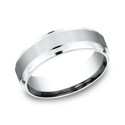 7MM WHITE GOLD COMFORT FIT SATIN FINISHED BAND CF67351W - 7MM WHITE GOLD COMFORT-FIT SATIN-FINISHED BAND CF67351W