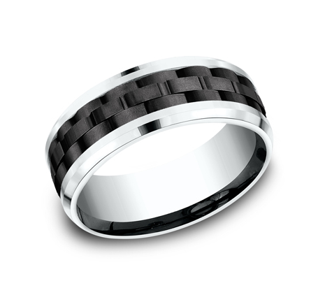 8MM 14K WHITE GOLD DESIGN BAND CF458672BKTW - 8MM 14K WHITE GOLD DESIGN BAND CF458672BKTW