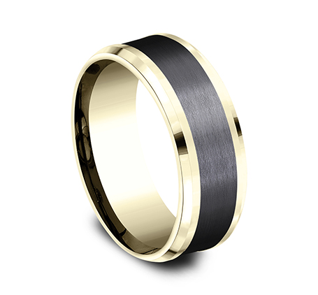 8MM 14K YELLOW GOLD AND BLACK TITANIUM DESIGN BAND CF448010BKTY 1 - 8MM 14K YELLOW GOLD AND BLACK TITANIUM DESIGN BAND CF448010BKTY