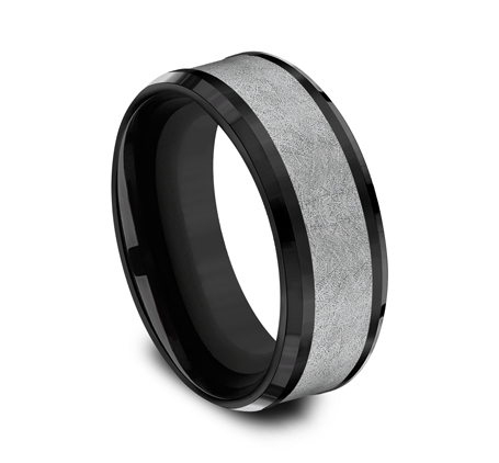 8MM BLACK TITANIUM AND TANTALUM DESIGN BAND CF108070BKTGTA 1 - 8MM BLACK TITANIUM AND TANTALUM DESIGN BAND CF108070BKTGTA