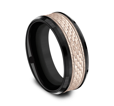 8MM BLACK TITANIUM DESIGN BAND CF398497BKTR 1 - 8MM BLACK TITANIUM DESIGN BAND CF398497BKTR
