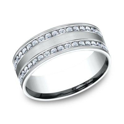 8MM COMFORT FIT CHANNEL SET BRUSHED DIAMOND ETERNITY BAND CF528551W - 8MM COMFORT-FIT CHANNEL SET BRUSHED DIAMOND ETERNITY BAND CF528551W