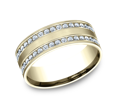 8MM COMFORT FIT CHANNEL SET BRUSHED DIAMOND ETERNITY BAND CF528551Y - 8MM COMFORT-FIT CHANNEL SET BRUSHED DIAMOND ETERNITY BAND CF528551Y